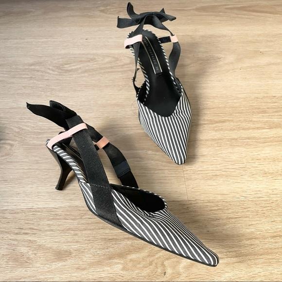 Stripe Pattern Sling Back Kitten Heels - Zara